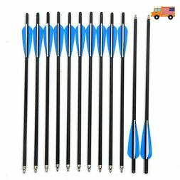 12/24pk Crossbow Bolts Screw in Tips Carbon Arrows Target Hu