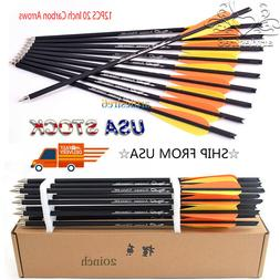 12PCS 20 Inch Target Carbon Arrows Crossbow Bolts for Archer