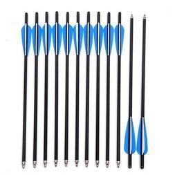 "12pcs 20inch Archery Crossbow Bolts Carbon Arrow With 4"" van"