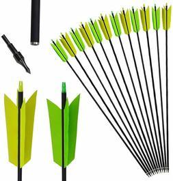 12pcs 30'' Archery Carbon Arrows Turkey Feather SP400 Broadh