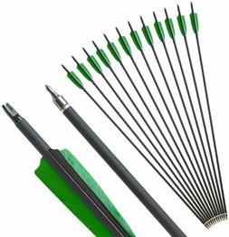 12pcs 31'' Archery Carbon Arrows Sp500 Removable Broadhead R