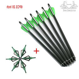 "6PCS 20"" Crossbow Carbon Arrows + Archery Hunting Arrowheads"
