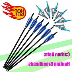 Carbon Arrows Crossbow Bolts + Broadheads Archery Outdoor Ta