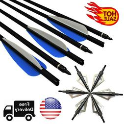 Hunting Crossbow Bolts Carbon Arrows + 12pcs Broadheads Arch