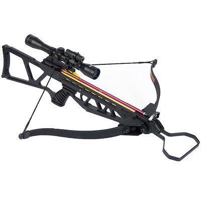 180 lb Black Hunting Crossbow Bow + 4x20 Scope + 7 Arrows /