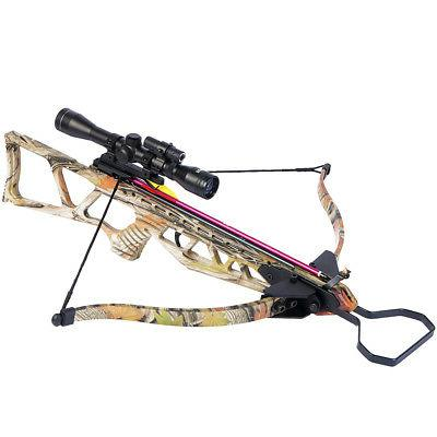 180 lb Camouflage Hunting Crossbow Bow +4x20 Scope + 7 Arrow