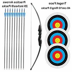 SinoArt Long Bow Pkg Archery RH 30Lbs Draw Arrows Target Fib