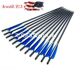 "US 12PCS 20"" Carbon Arrow 8.8mm Broadheads Archery Target cr"