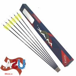 "US 6PCS 26"" Fiberglass Archery Arrows Spine 1200 Target Bow"